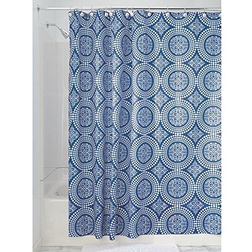 xtil Duschvorhang | 183 cm x 183 cm Duschabtrennung für Badewanne und Duschwanne | Vorhang aus Stoff mit verstärkter Oberkante | Polyester blau ()