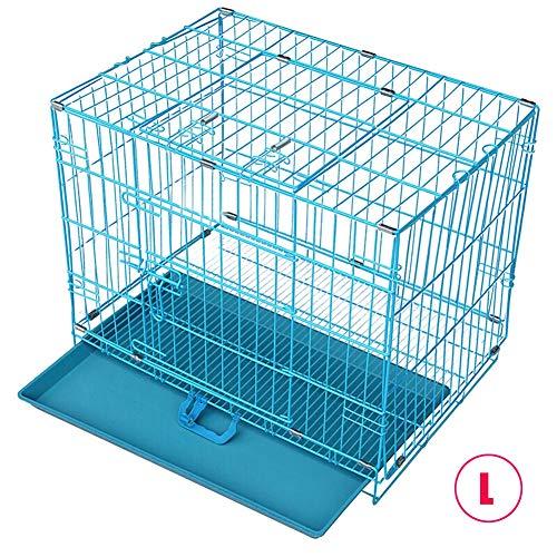 RXLCS Faltbare Hundekiste Aus Metall, Blau, Mit Dachfenster Und Kunststoffschale, 30 Zoll, Für Kleine Und Mittlere Haustiere Bis 17,5 Kg