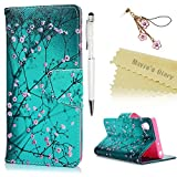 Sony Xperia XA1 Case , Xperia XA1 Flip Case - Mavis's Diary Wallet Flip Bumper Cover PU Leather Case Shockproof with Soft Rubber Silicone Gel Back Holder Magnetic Closure Stand Stylish Prints Protective Cover - with Dust Plug & Stylus for Sony Xperia XA1 - Pink Flowers