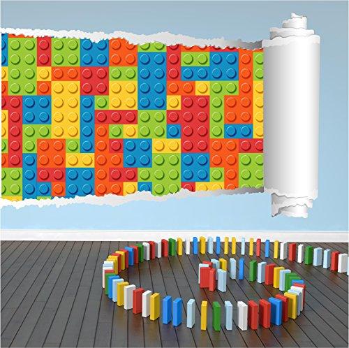 Red Parrot Graphics Lego Bricks gezogen 3D Wall Art Aufkleber Aufkleber Kids Full Farbe Print, Large 92cm x 59cm - Wall Graphics Brick