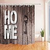 GAOFENFFR Decorazione in Legno Rustico Chiave per casa su Tende Doccia in Legno Tessuto Impermeabile in 180X180CM Ganci