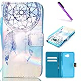 EMAXELERS Galaxy A5 2016 Coque Fille Angry Face Séries PU Cuir Portefeuille Housse Swag Coquille Coque pour Samsung Galaxy A5 2016,Blue Campanula