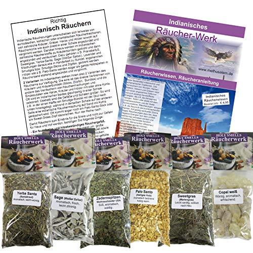 Indianisches Räucher Basis Set 7-tlg   6 x 60ml Sage Salbei + Zeder + Palo-Santo + Copal + Yerba-Santa + Sweetgrass + 1 x Booklet INDIANISCHES RÄUCHERWISSEN   81020 (Salbei Sweetgrass Zeder)