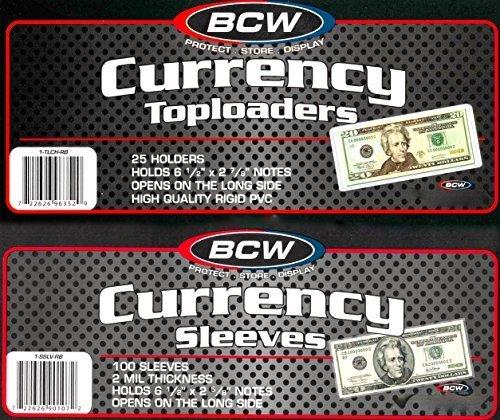 150 BCW Regular Bill Toploaders Top Load Holders Plus 200 Regular Bill Sleeves by BCW