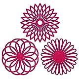 Silicone multiuso,-Sottopentola a forma di fiore, set di 3 pezzi di alta qualità, durevole, isolante flessibile antiscivolo calde e sottobicchieri per tazza Rosso