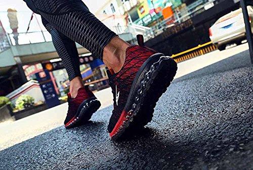 Uomini Hip Hop Scarpe casual Autunno Cuscino d'aria Scarpe da ginnastica Tessitura Volante Maglia Scarpe da corsa Red