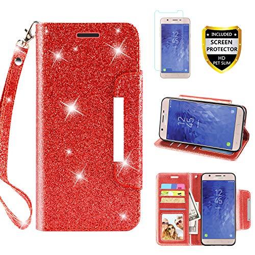 Schutzhülle für Samsung Galaxy J7 / Galaxy J7 2018/Galaxy J7 Star/Galaxy J7 V 2. Generation, Flip Bling Glitzer Wallet Case mit Kickstand Kreditkarte Slot Handschlaufe, rot (Hinweis 2 Wallet Case Rot)