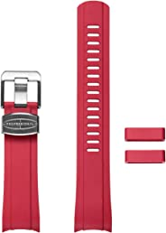 Crafter Blue Curved Ended Rubber Watch Band (New Version) Replacement Watch Strap, for Seiko SKX007, SKX009 and SKC011