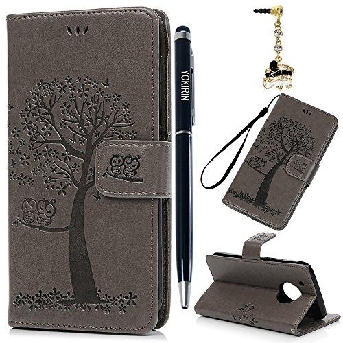 Motorola Moto G5 Plus Hülle YOKIRIN Case für Motorola Moto G5 Plus Lederhülle Etui Eule Baum PU Leder Schutzhülle Flip Bookcase Handyhülle Schale Karte Halterung Magnetverschluss Cover Tasche Grau