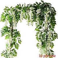 Lot de 2 glycines artificielles Efivs Arts - 2.0m -En soie - Feuilles vertes -Guirlande fleurie à suspendre pour une fête, un mariage -Pour la maison, le jardin -Décoration murale