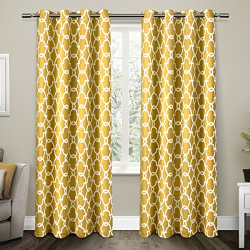 Exclusive Home Gates Blackout Thermo Tülle Top Fenster Vorhang, Panels, Black Pearl 132,1 x 213,4 cm Set von 2/Paar, Polyester, Sundress Yellow, 84 x 52 x 0.1 cm (Blackout-panels)