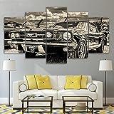LA VIE 5 Teilig Wandbild Gemälde Retro Auto Hochwertiger Leinwand Bilder Poster Drucken Moderne Kunstdruck für Zuhause Wohnzimmer Schlafzimmer Küche Hotel Büro Geschenk