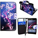 CONTINENTAL27 For Sony Xperia E1 D2004/D2005/ Xperia E1 dual D2104/D2114/D2105 New Printed ULTRA BUTTERFLY STYLE 7 Book Type Pouch Side Opening With Card Slots Stylish PU Leather Horizontal Wallet Flip Magnetic Closure Secure Phone Case Cover + Free Stylus Pen And Screen Guard