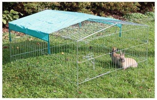 Kaninchen-Freilaufgehege Easy mit Sonnenschutz, Kerbl, XXL, verzinkt, 115 x 115 x 60 cm