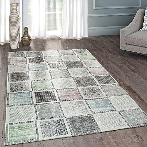 Moderner Heatset Designer Teppich Patchwork Muster Pastell Grau Rosa Blau Grün, Grösse:80x150 cm