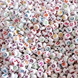 #9: TOYMYTOY Round Acrylic Colorful Alphabet Beads for DIY Loom Bands Bracelets and Jewelry Making (7 x 4 mm) - Set of 100 Pieces