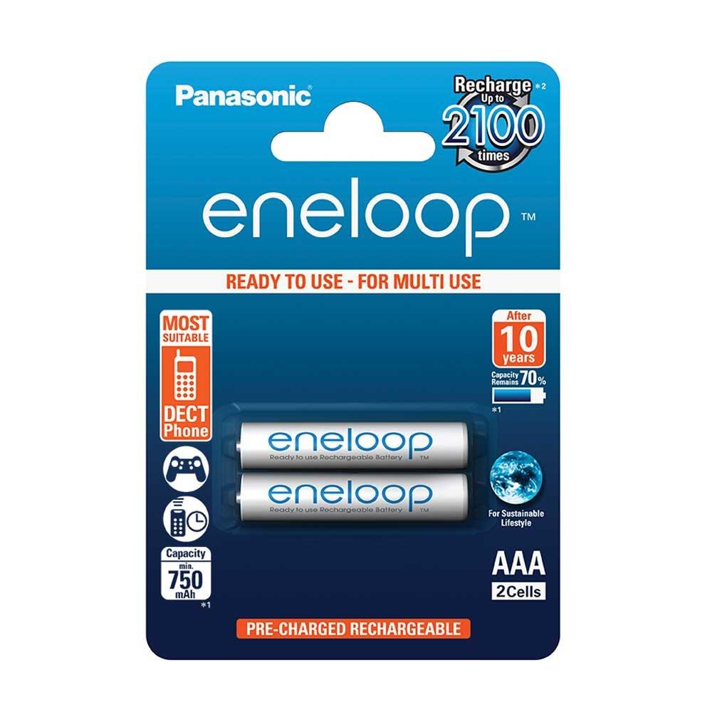 Panasonic Blister 2 Ministilo AAA Ricaricabili ENELOOP, Bianco