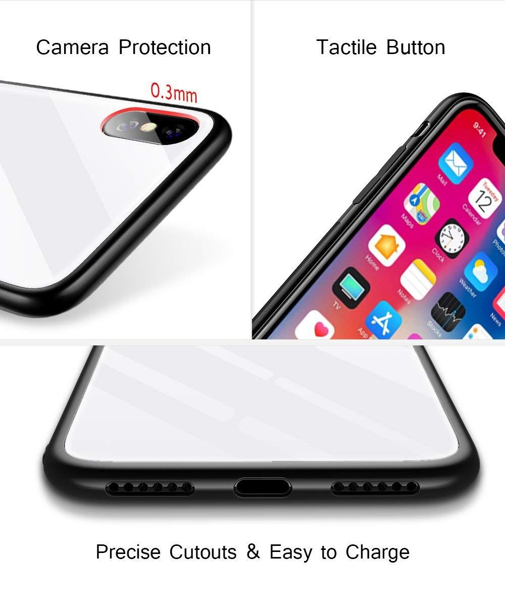 Oihxse Colorido Gradual Cristal Estilo Case Compatible con iPhone X/iPhone 10 Funda Vidrio Templado Trasera Carcasa… 4