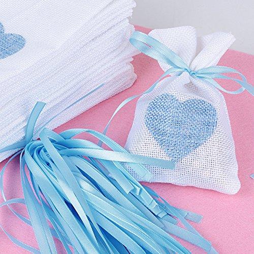 Buondac 24 pz 10 * 14cm sacchetti iuta con cuore celeste bustine piccoli tela regalo bomboniere portaconfetti battesimo per matrimonio festa gioielli