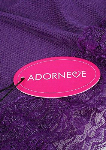 ADORNEVE Damen Reizwäsche Dreiteiliger Mit Umschlagtuch Erotik Tief V Nachtkleid in europäischen Größen Violett