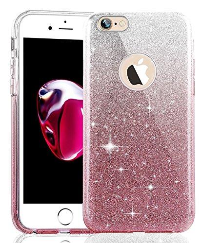 iPhone 7 Plus Hülle,iPhone 7 Plus Silikon Hülle Glitzer Tasche Handyhülle,SainCat iPhone 7 Plus Ultra dünne Silikon Hülle Engel Muster Schutzhülle Stern Bling Glitzer Durchsichtig Schutzhülle Stoßfest Gradient Rosa