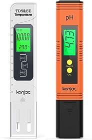 Konjac pH Messgerät, pH TDS EC und Temperatur 4 in 1 Set, Wasserqualität Tester(ATC) für Trinkwasser/Schwimmbad/Aquarium/Poo