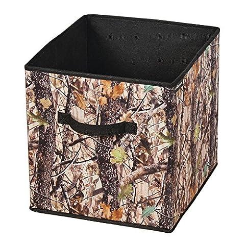 InterDesign Woodland Camouflage Fabric Storage Organizer Cube – Forest/Black