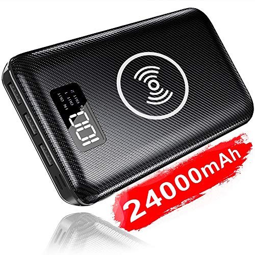 KEDRON Powerbank 24000mAh Externer Akku, 2 in 1 Kabellose Wireless Power Bank mit LCD Digital Display und 2 Eingänge & 3 Ausgänge Hohe Kapazität Tragbares Ladegerät für Das Smartphones -