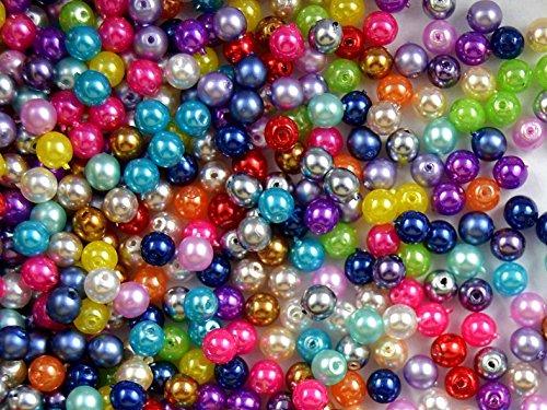 100pc Ceco Vetro Pressato Perle, Imitazione di perle, Tondo Diametro 4 mm, Mix Pastel Colors