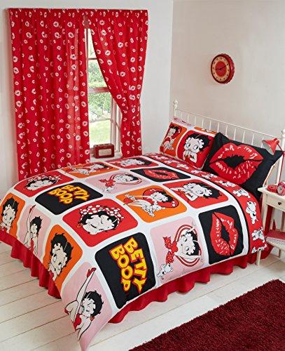 Super King Size Bett Betty Boop Bild perfekt,/Bettbezug Bettwäsche-Set Komplett Wendbare, Polka Dot Wink Herzen Pudgy auf dem Arm Hund Lippen KISS Kicking Classic Iconic Bilder, Schwarz Weiß Rot Orange Pink Gelb (Betty Boop Bettwäsche-set)