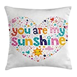 Quotes Decor Throw Pillow Cushion Cover, Heart Shaped Sunshine Motivational Quote with Stars Circle Sun Cloud Infant Decor, Decorative Square Accent Pillow Case, 18 X 18 inches, Multi