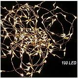 K7plus® LED Lichterkette - 20 / 40 / 100 LED - warmweißes Licht mit Batterie - biegsamer Draht für die perfekte Dekoration (Kette mit 100 LED)