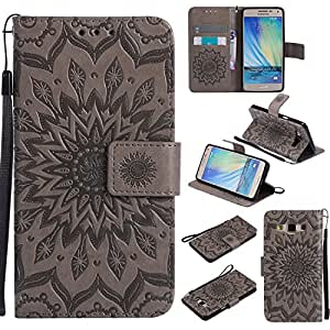 COZY HUT For Samsung Galaxy A5 Case [Gray], PU Leather Sunflower Design with Kickstand Function and Card Slot Slim Flip Case For Samsung Galaxy A5 2015 / SM-A500F 5.0 inch - gray