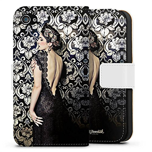 Apple iPhone X Silikon Hülle Case Schutzhülle Anna Karenina Mode Fashion Sideflip Tasche weiß