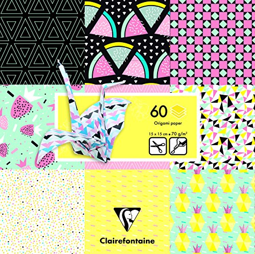 Clairefontaine 60Tabelle Geometrische Fruit Origami Pack, Mehrfarbig, 15x 15cm