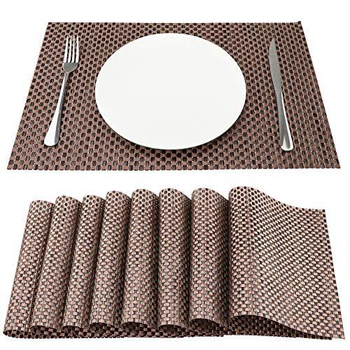 Sueh design tovagliette americane pvc 45 x 30cm set 8 pezzi marrone