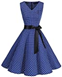 Bridesmay Donna Anni '50 Abiti Vintage V-Neck Retro Cocktail Audrey Vestito Navy Small White DOT M