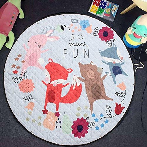 GWELL Kinder Aufräumsack Cartoon Spielmatte Spieldecke Spielzeug Speicher Tasche Kinderteppich Sterne Aufbewahrungsbeutel für Kinderzimmer 145cm Fuchs-1