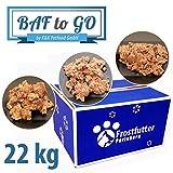 Baf-to-Go Paket 22 Kg - Feucht- und Nassfutter für Hunde Inclusive Rindermuskelfleisch, Grüner Pansen, Maulfleisch, Lammpansen, Wildmix, Fisch-Huhn Mix und mehr