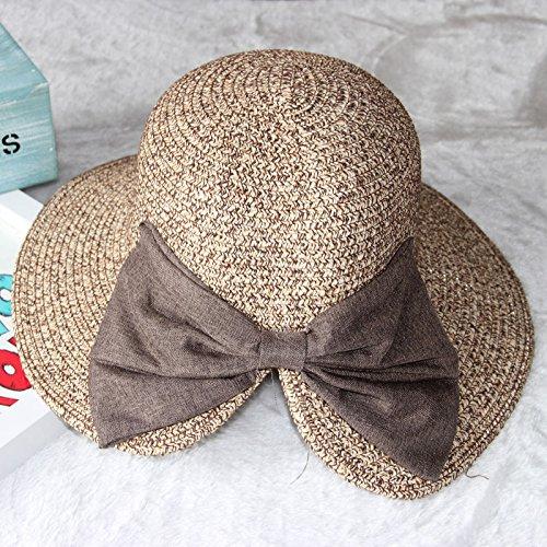 Elegante il filtro bow tie cappello di paglia ombrellone hat, sunscreen summer resort cappello da sole spiaggia femmina fisherman cap (56-58cm, m) profondo caffè