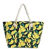 Grande borsa da spiaggia idrorepellente con cerniera Borsa a tracolla Shopper Bananas