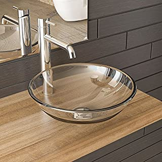 Clear Glass Glass Bowl Diameter 42 cm/Guest Bathroom Wash Basin and Sink Base Cabinet/