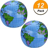 16 Zoll Inflatable Globe der Welt Aufblasbarer Erdkugel Aufblasbarer Weltkugel Wasserball für die Kinder, Blau (12 Packung)