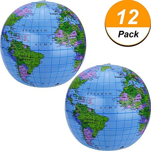 lobe der Welt Aufblasbarer Erdkugel Aufblasbarer Weltkugel Wasserball für die Kinder, Blau (12 Packung) (Große Aufblasbare Beach Ball)