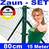 Maschendrahtzaun - SET 80 cm 15 Meter lang Maschendraht