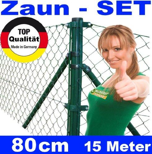 *Maschendrahtzaun – SET 80 cm 15 Meter lang Maschendraht*