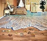 Lqwx Chinesische 3D-Bodenbeläge Für Bad Wellen Strand 3D, Malerei Foto Wallpaper 3D Pvc-Bodenbeläge Wasserdicht 200Cmx140Cm