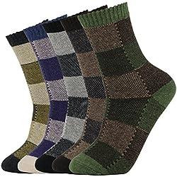 5 Pares de Calcetines de Lana Tejida Gruesa Cálida y Suave para Invierno y Otoño de Estilo Antiguo para Hombres (38-44, Color 1)