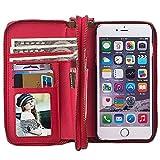 HARRMS Apple iPhone 5/5S/SE Leder Hülle Flip Case Handytasche und Brieftasche mit Standfunktion Kredit Karten Fach mit Unsichtbarem Magnet, Rot