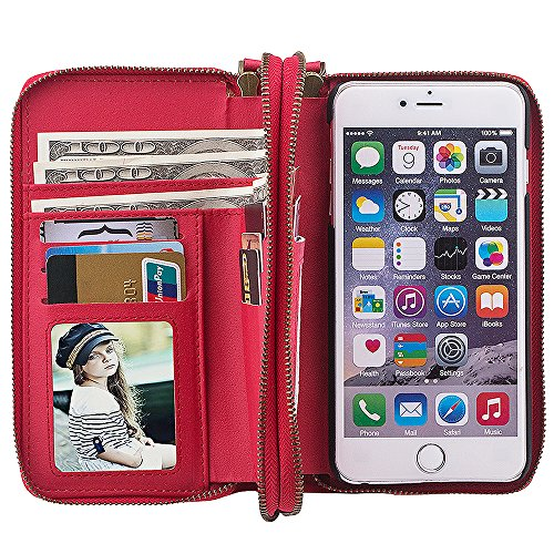 Preisvergleich Produktbild Apple iPhone 5/5S/SE Leder Hülle Flip Case Handytasche und Brieftasche mit Standfunktion Kredit Karten Fach mit Unsichtbarem Magnet, Rot